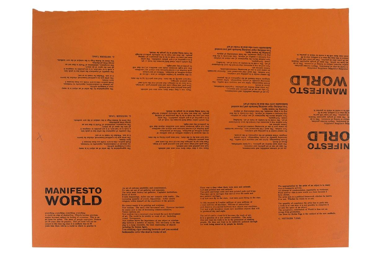 photo of Gustav Metzger's Manifesto World