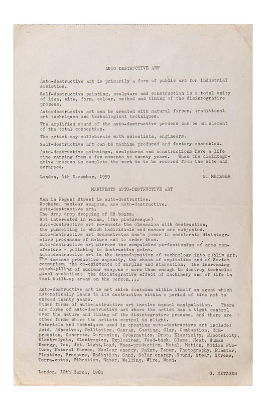 photo of Gustav Metzger's Auto-Destructive Art manifesto