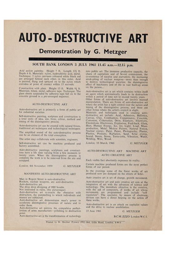 photo of Gustav Metzger's Auto-Destructive Art, Machine-Art, Auto-Creative Art manifesto