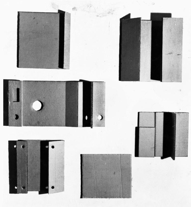 "photo of Gustav Metzger's ""Cardboards"""