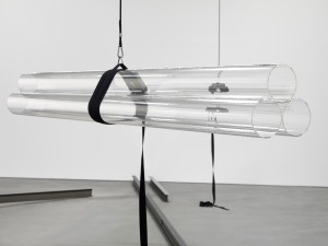 Natalia Stachon DRIFT 03, 2012 6 plexiglass pipes (250 x 15 cm each), 2 stainless steel strap tensioners, stainless steel hooks, cord  overall dimensions variable  Courtesy of Daimler Kunstsammlung, Berlin/Stuttgart Photo: Bernd Borchardt, Berlin